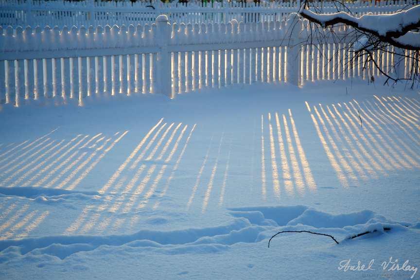 Razele soarelui proiectate pe zapada rece efect albastru