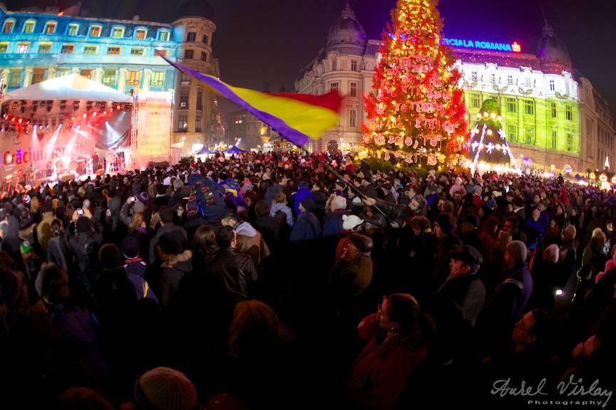 Fotografie obiectiv fish-eye Piata Universitatii Craciun Bucharest Christmas Market 26- 19