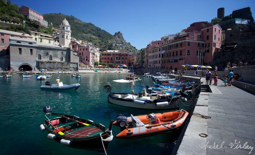 Landscape picture in Vernazza port Italy-Cinque-Terre