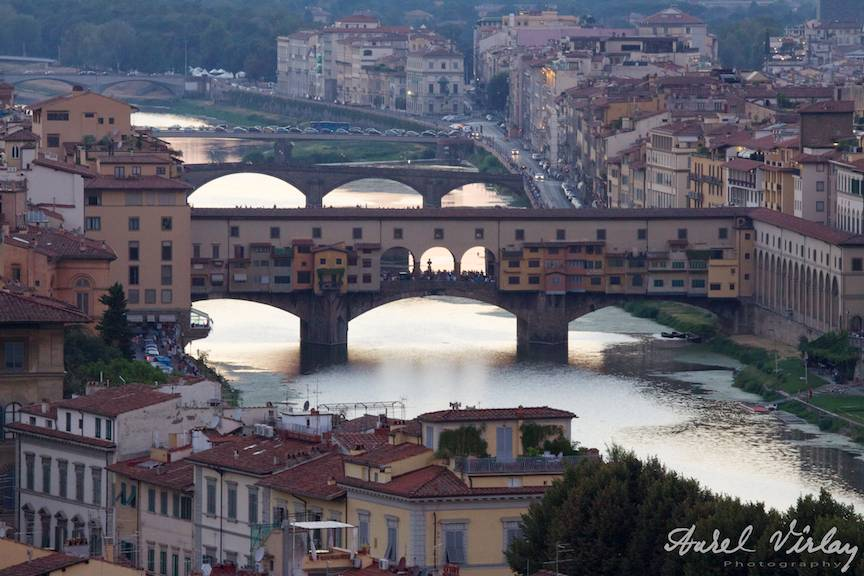 Ponto Vechio of Florence Italy on sunset.