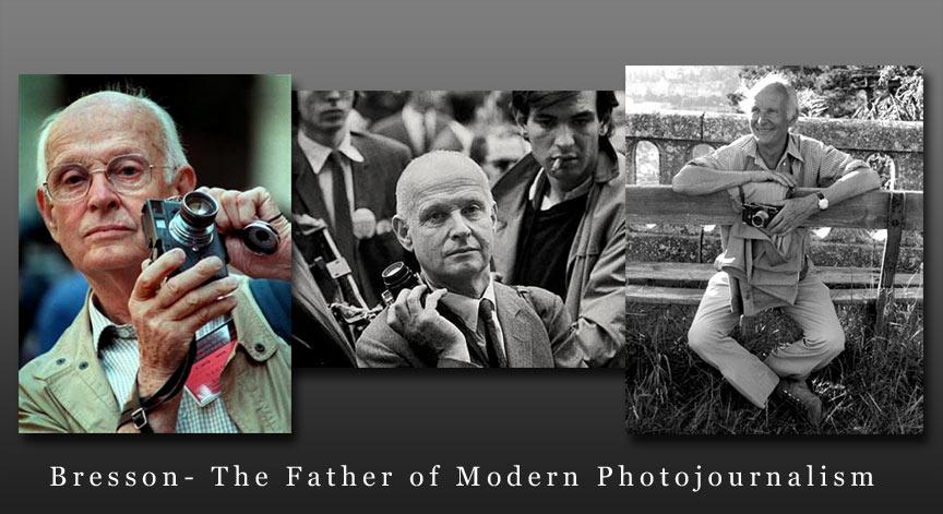 Fotograful H.C. Bresson in diferite ipostaze cu aparatul foto Leica pregatit.