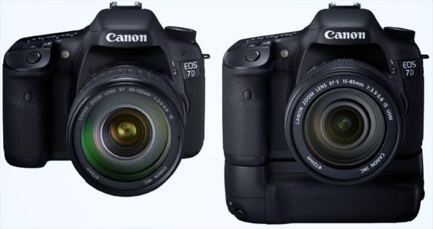 Aparatul foto Canon EOS 7D Body si varianta cu Grip BG-E7.