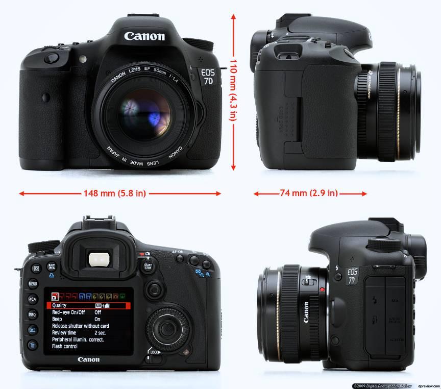 Dimensiuni aparat foto Canon EOS 7D.