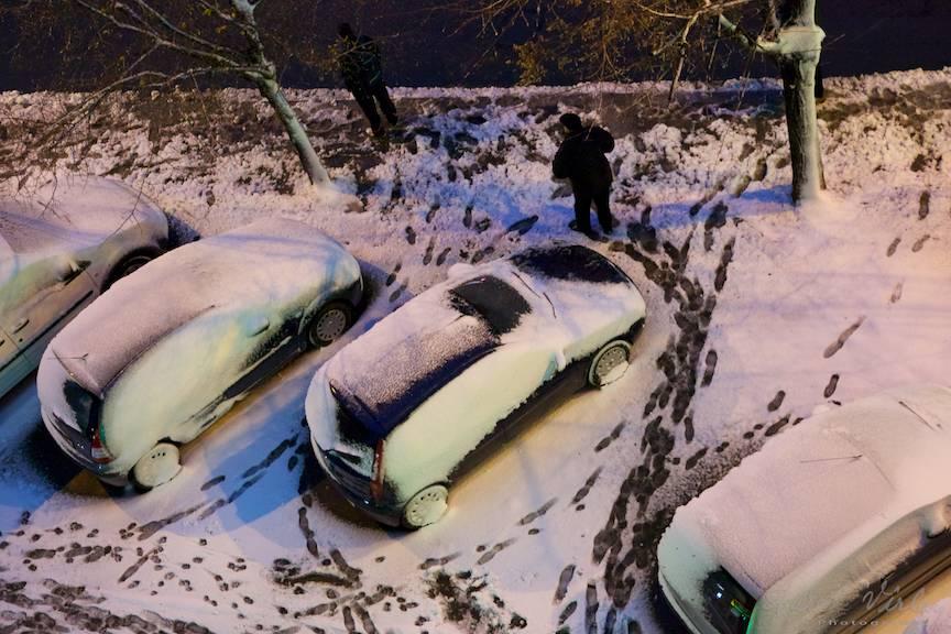 Prima fotografia din prima zi de iarna din Bucuresti.