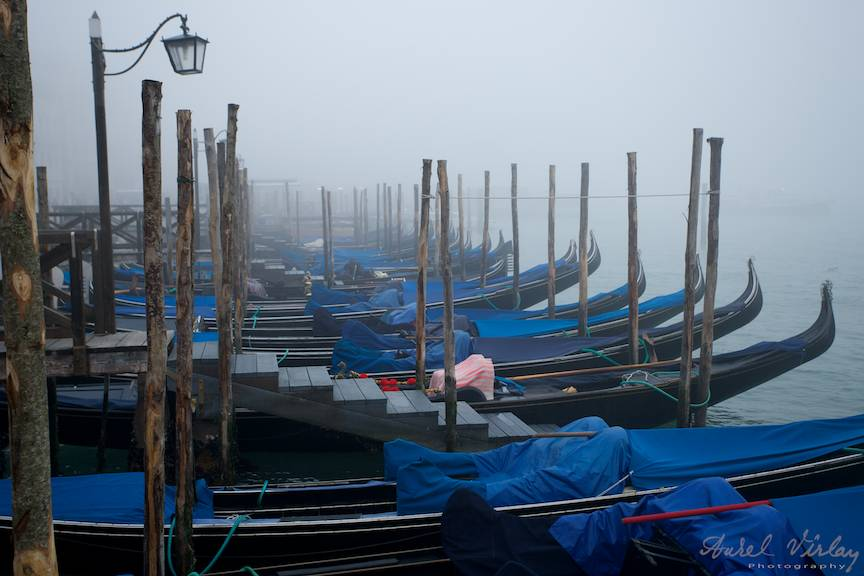 Gondole pierdute in ceata diminetii de pe Grand Canal.