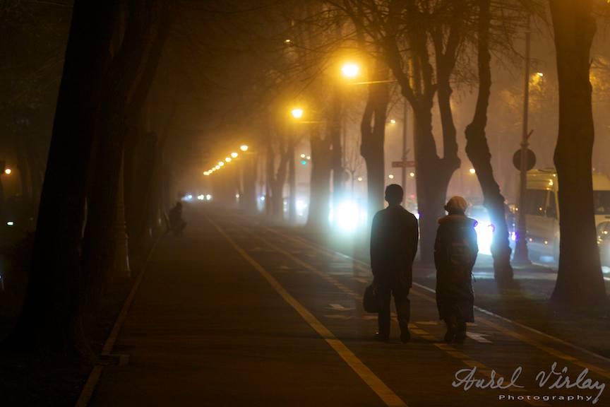 Peisaj foto citadin seara la lumina felinarelor de pe Bulevardul Aviatorilor.