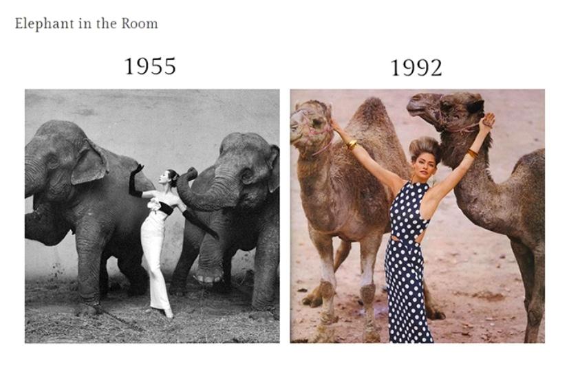Fotografia *Elephant in the room* a lui Richard Avedon cu Dovima in 1955 inspire pe Eric Boman pentru British-Vogue in 1992.