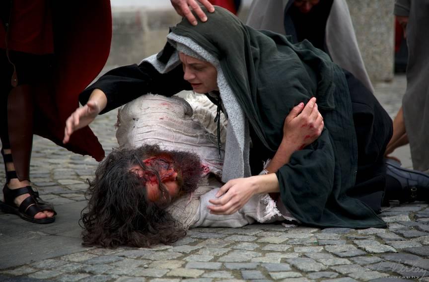 Scena plangerii Fiului de Fecioara Maria.