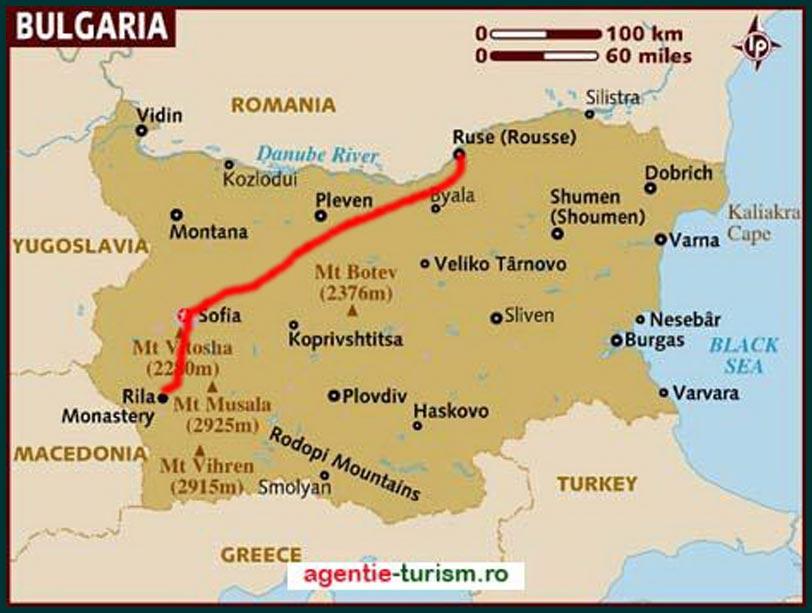 Bulgaria-harta-traseu-spre-Manastirea-Rila