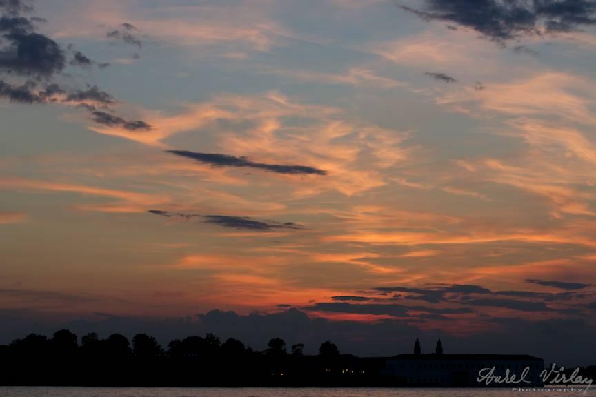 Apus de soare dupa prima mea zi de workshop din Venetia.
