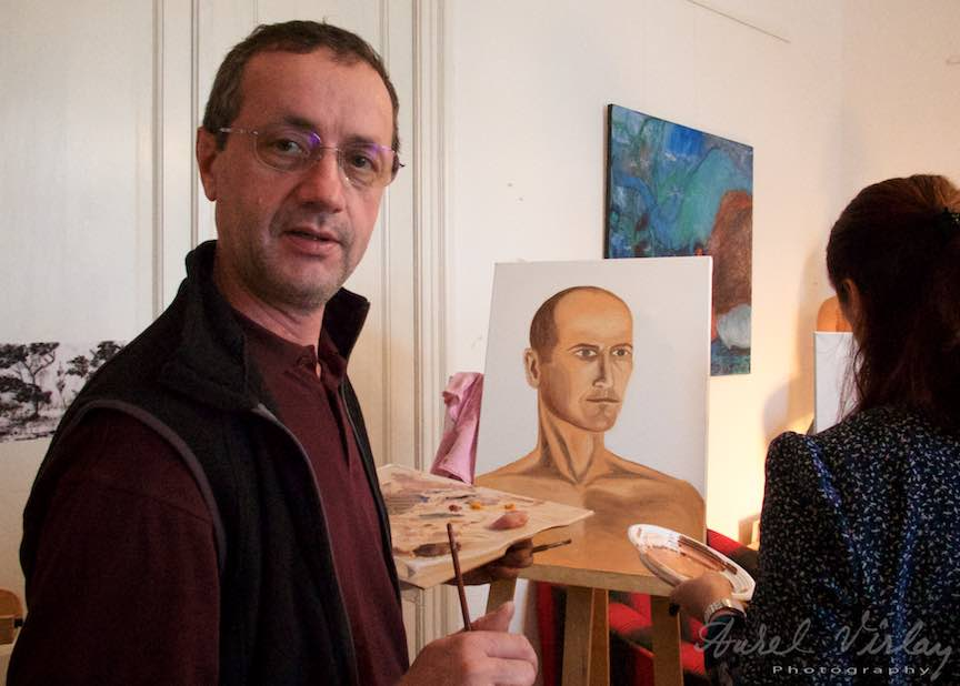 Un Fotograf la cursul de Pictura in ulei: Portretul maculin, panza 50x70cm.
