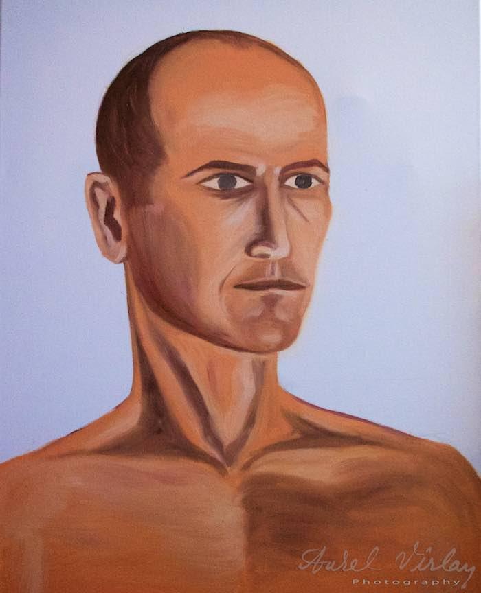 Curs Pictura Portret Casa Arte 3 - Fotograful Aurel Virlan - Primul portret in ulei pe panza al fotografului Aurel Virlan.