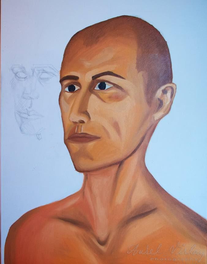 Curs Pictura Portret Casa Arte 3 - Fotograful Aurel Virlan - Portretul realizat din celalalt unghi lateral.
