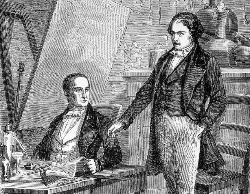 Gravura ilustrand semnarea contractului dintre Niépce si Daguerre.