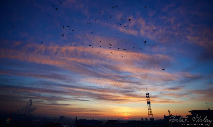 Fotografie in rasarit de soare: Big Berceni - Piata Sudului Bucuresti.
